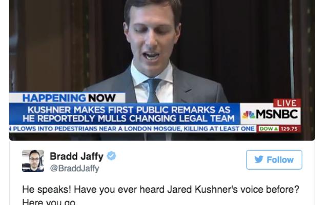 ब्रेकिंग: इस तरह जेरेड कुशनर की आवाज सुनाई देती है