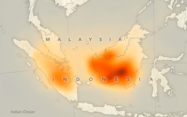 Pożary spowodowały, że nad Indonezją pojawiły się ogromne smugi tlenku węgla
