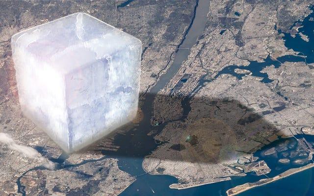 この巨大な角氷は、私たちが毎年どれだけの氷を失っているのかを表しています