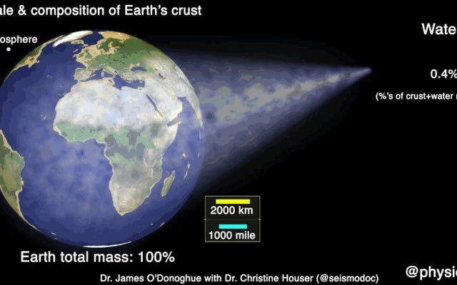 この魅力的なアニメーションは、地球の表面のスケールと構成を示しています