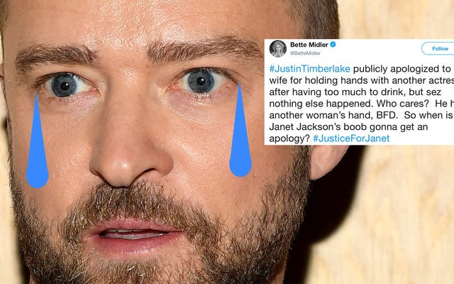 Bette Midler tham gia vòng tròn chỉ điểm của chúng tôi và yêu cầu Justin Timberlake xin lỗi Janet Jackson, cụ thể là