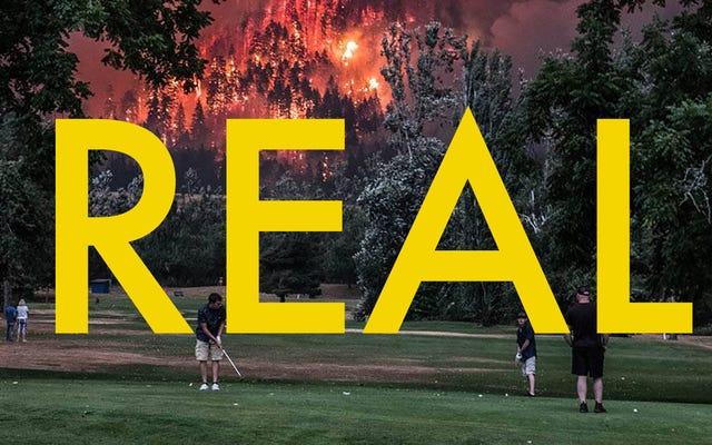 To wirusowe zdjęcie ludzi grających w golfa przy ogromnym pożarze jest w rzeczywistości prawdziwe