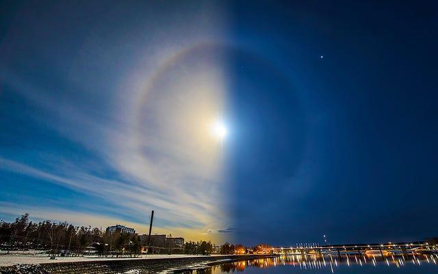 Sole e Luna si allineano per creare un meraviglioso alone di ghiaccio bifronte