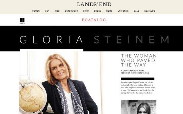क्या लैंड्स एंड ने प्रो-लाइफर्स को खुश करने के लिए ग्लोरिया स्टीनम के साथ एक साक्षात्कार को हटा दिया?