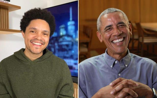 バラク・オバマは、毎日の社会的距離ショーでトレバー・ノアに「きびきびとしたスローガン」の声明を明確にします