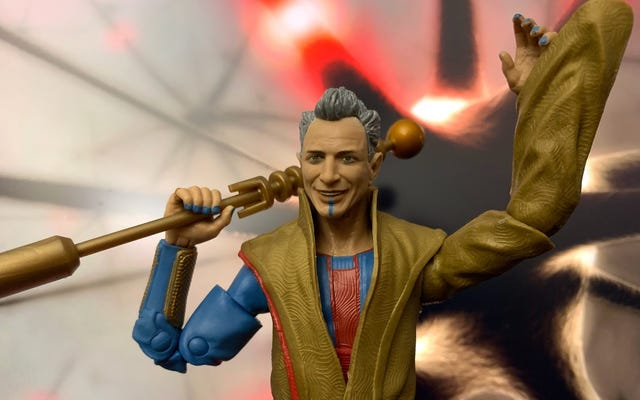 マーベルのグランドマスターフィギュアは、ジェフゴールドブラムの間抜けな魅力を完璧に捉えています