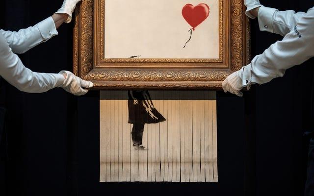 Banksys zerfetztes Kunstwerk wurde umbenannt und als neues, ebenso teures Stück wiedergeboren