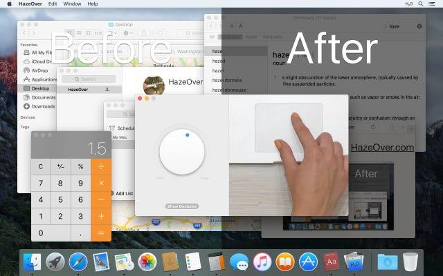 HazeOver หรี่สิ่งรบกวนด้วยการซีดจาง Windows พื้นหลังบน Mac ของคุณ