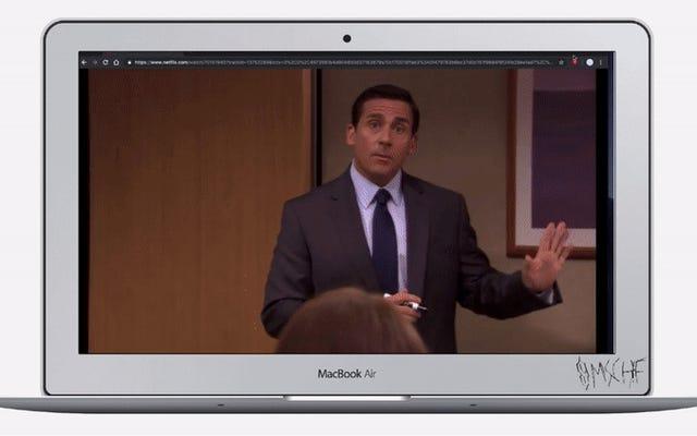 To rozszerzenie ukrywa witrynę Netflix jako rozmowę wideo umożliwiającą oglądanie seriali w pracy