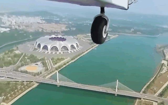平壌の超軽量飛行機から撮影された素晴らしい映像を見る