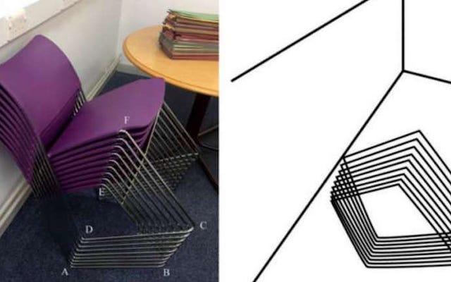 Die Form dieser gestapelten Stühle ist ein Fehler, der nur in Ihrem Kopf liegt