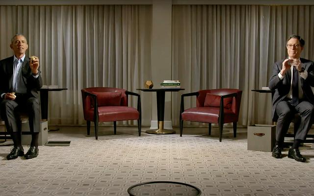Stephen Colbert wyzywa prezydenta Obamę do jakiejś śmieciowej gadaniny o koszykówce