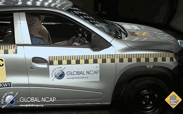 これは、4つの異なる車でゼロスターの安全性評価がどのように見えるかです