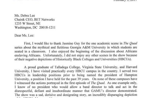 ハンプトン大学の学長がHBCUの描写のためにクワッドを非難するBETへの手紙