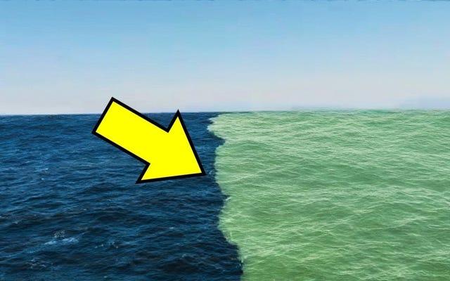 海がこの実際の絵に溶け込んでいないように見える理由