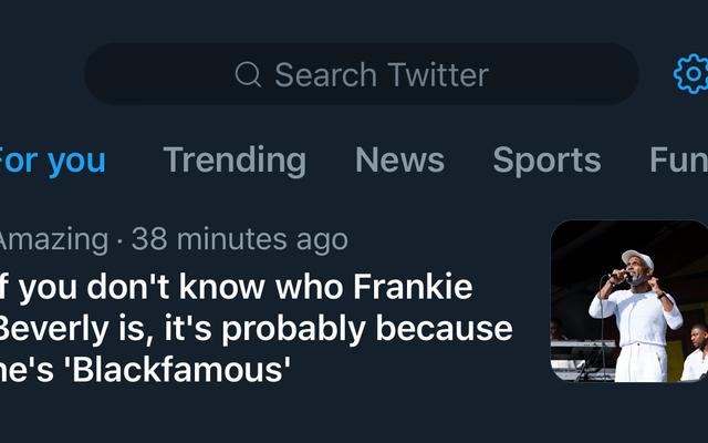 どうやら、白人は、黒人のツイッターが彼らに教えるまで、フランキー・ビバリーが誰であるかを知らなかったようです。