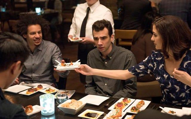 Bir akşam yemeği partisi şakası çok tatmin edici bir Erkek Arayan Kadın yapmaz