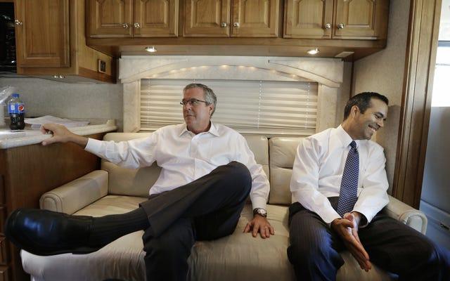 息子がトランプを支持するにつれて、ジェブ・ブッシュは憤慨数12,000に苦しむ