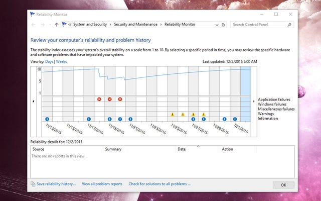 Cách khắc phục sự cố Windows 10 với Trình theo dõi độ tin cậy