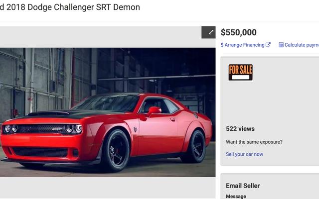 Seseorang Benar-benar Mencoba Menjual Demon SRT Dodge Challenger Bekas seharga $ 550.000