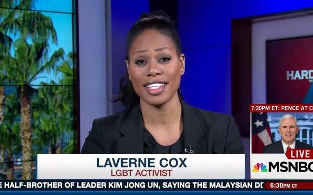 Une militante anti-trans est perplexe lorsqu'on lui a demandé si Laverne Cox devrait utiliser la chambre des hommes