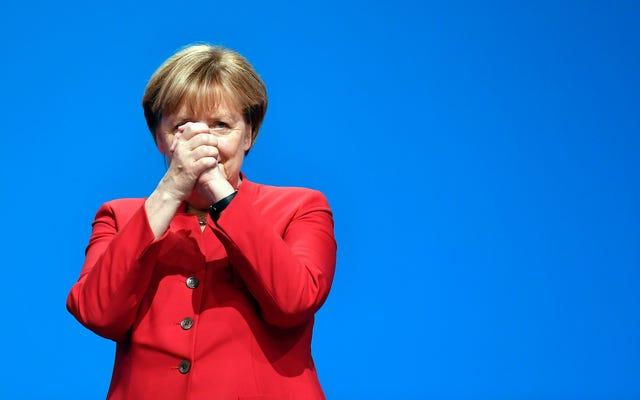 Angela Merkel está aquí defendiendo la prohibición del burka