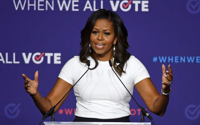 私たちの会議の前に、ミシェルオバマは私たち全員が投票したときに何が起こるかをあなたに思い出させるように私に頼みました