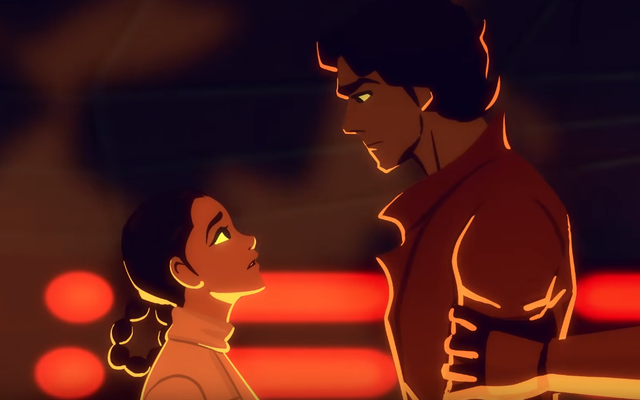 レイアのハンの救助はアニメーションでも同じようにロマンチックです