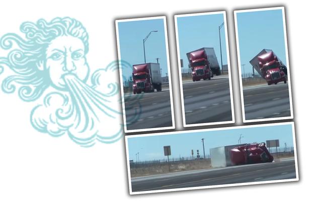 देखो एक अर्ध ट्रक हवा द्वारा खटखटाया जाता है क्योंकि प्रकृति हमारे गंदगी का शिकार है