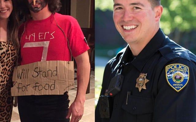 Nev. Kampüs Polis Memuru Colin Kaepernick'in Protestosuyla Alay Etmek İçin Irkçı Kostüm Yaptı