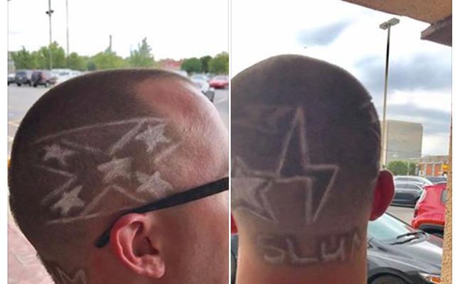 Chico blanco le pide a un peluquero negro que le corte la bandera de la Confederación