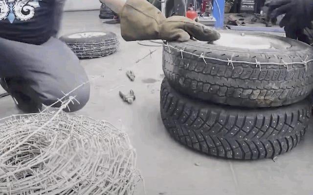 Попытка наших любимых россиян сделать шины с шипами из колючей проволоки