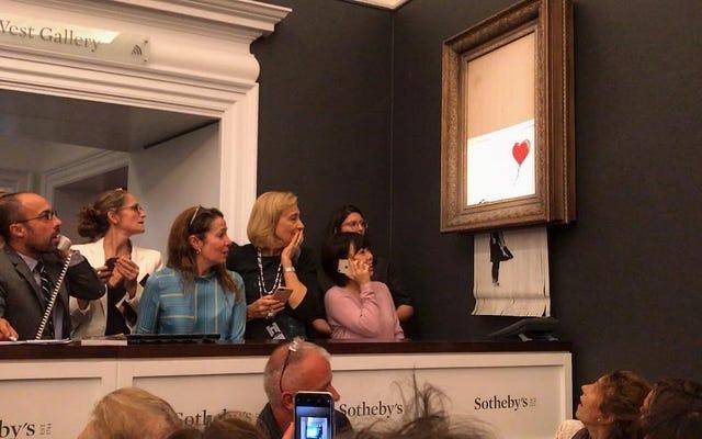 Banksys Arbeit zerstört sich selbst, nachdem sie für 1.250.000 USD versteigert wurde