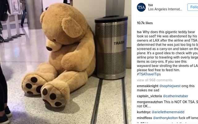 TSAのエージェントは巨大なテディベアを没収し、すべてが悪いことを私たちに思い出させるために、彼がホームレスで空腹になっていることについての詳細な裏話を彼に与えます