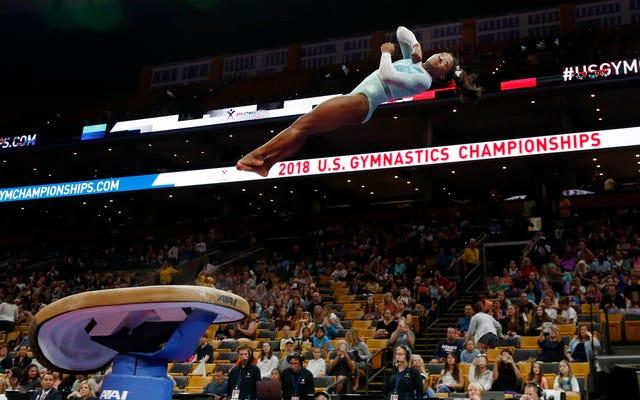Simone Biles arrasó con los cinco títulos en el Campeonato Nacional