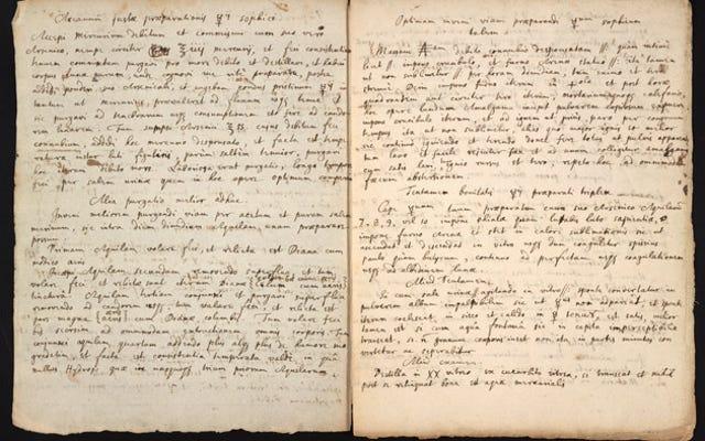 再発見された原稿は、アイザックニュートンが錬金術に手を出した方法を示しています