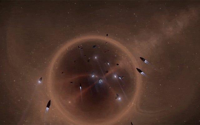 巨大なエリート危険艦隊が上品な方法で銀河中心を離れる