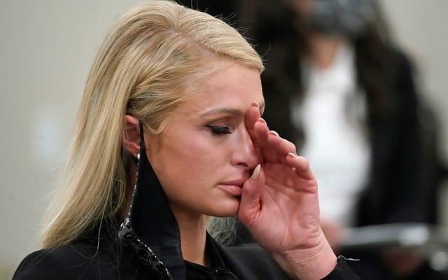 Paris Hilton décrit avoir été `` kidnappé '', `` violé '' et forcé à consommer des médicaments dans un témoignage en larmes sur les abus au pensionnat de l'Utah