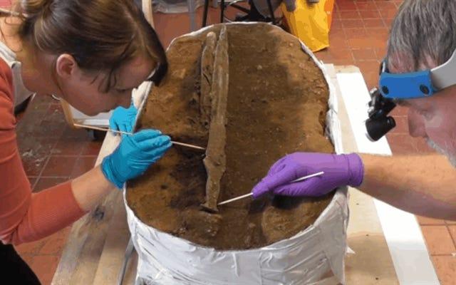 彼らは3000年の間無傷のままである先史時代の青銅の剣を見つけます