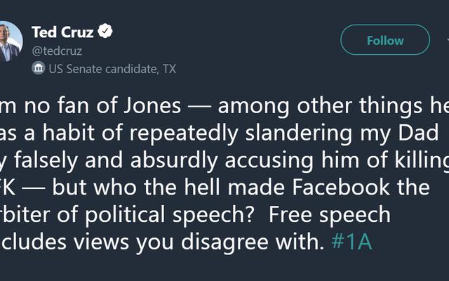 テッド・クルーズがフェイスブックの一時的なインターネット刑務所からアレックス・ジョーンズを勇敢に守る