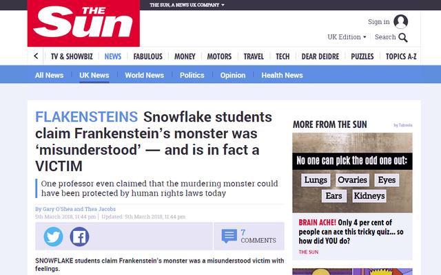 Repórteres intrépidos pegam 'alunos do floco de neve' supondo corretamente a moral de Frankenstein