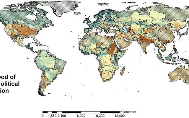 この地図は、将来の水戦争が最も起こりそうな場所を示しています
