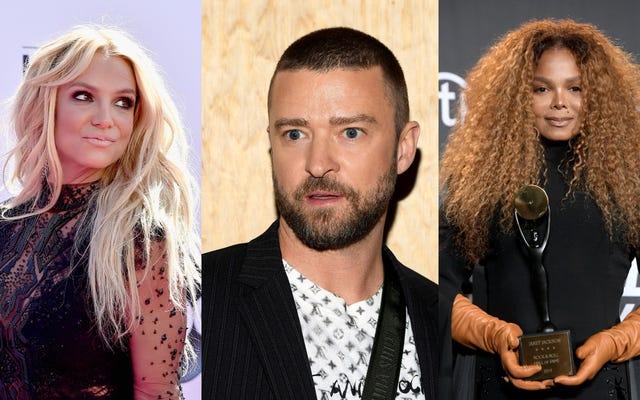 जस्टिन टिम्बरलेक एक नदी रोता है, ब्रिटनी स्पीयर्स और जेनेट जैक्सन को देर से आने वाली माफी जारी करता है