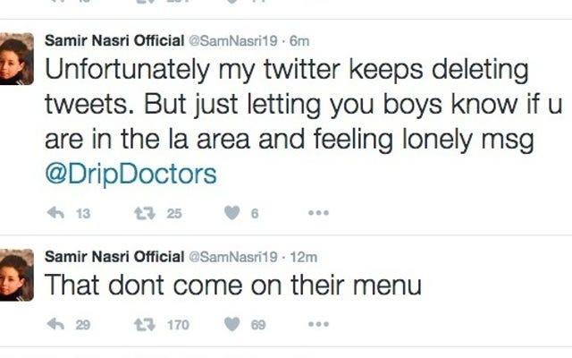 """समीर नासरी ने ट्वीट किया, ला IV उपचार केंद्र से """"पूर्ण यौन सेवा"""" के दावे"""