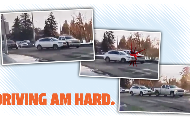 地元のニュースカメラがカナダの環状交差点でひき逃げの衝突を捉え、以前の難破後に再開されました
