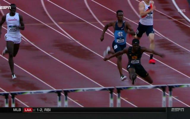 Rai Benjamin court 47,02 400 m haies, à égalité au deuxième rang le plus rapide de l'histoire de l'humanité
