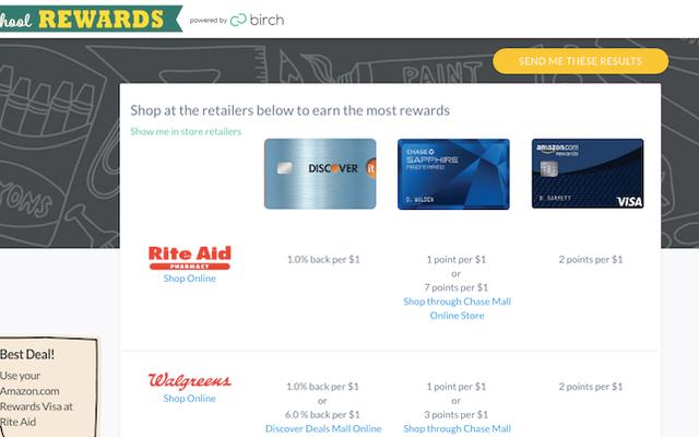 Найдите лучшее место для покупки школьных принадлежностей в зависимости от вознаграждения по кредитной карте