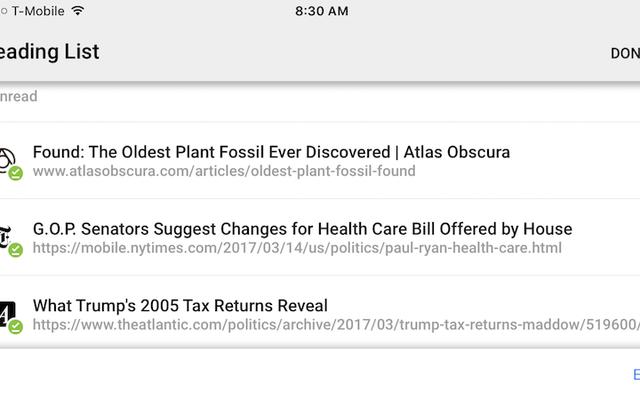 Chrome for iPhoneは、記事を保存してオフラインで読むための読書リストを取得します