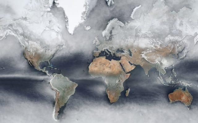 この魅力的な地球の地図は、1年間の衛星写真を平均して1つの画像にします