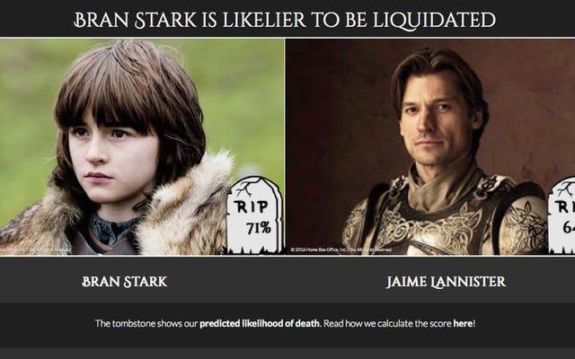 Cet algorithme prédit la probabilité de mort de chaque personnage de Game Of Thrones